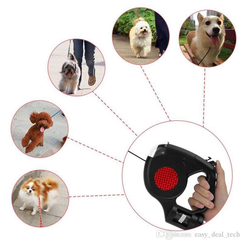 3 in 1 Retractable Dog Leash with LED Flashlight Waste Bags Garbage Dispenser for Small Medium Dogs Leads Pet Cat Traction Rope Q0448