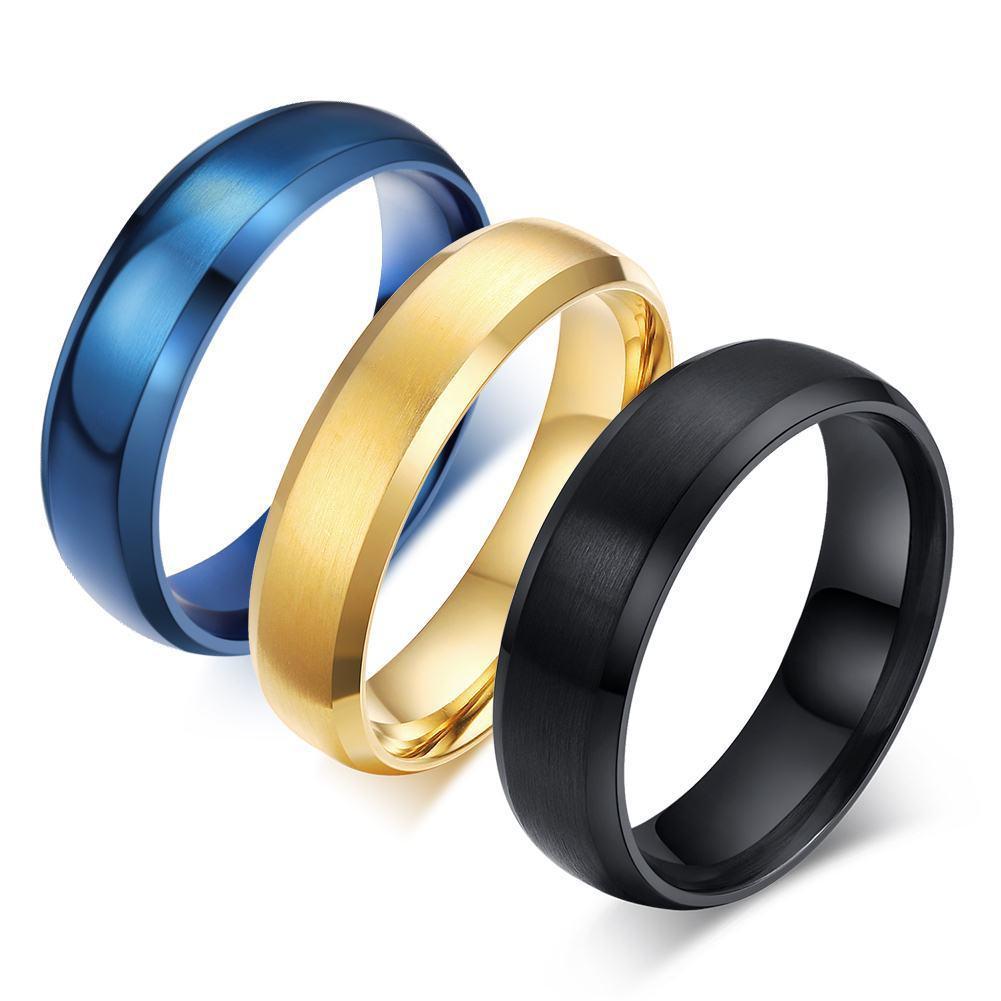 Ring Titanium Stainless Steel Blueblackgold Menwomen Wedding