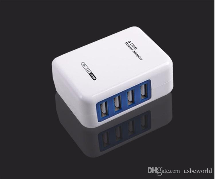 Smart USB Charger 4 Port EU US Plug Multiple Wall Adapter Mobile Phone Device 5V 3.1A Fast Charging For IPhone Android