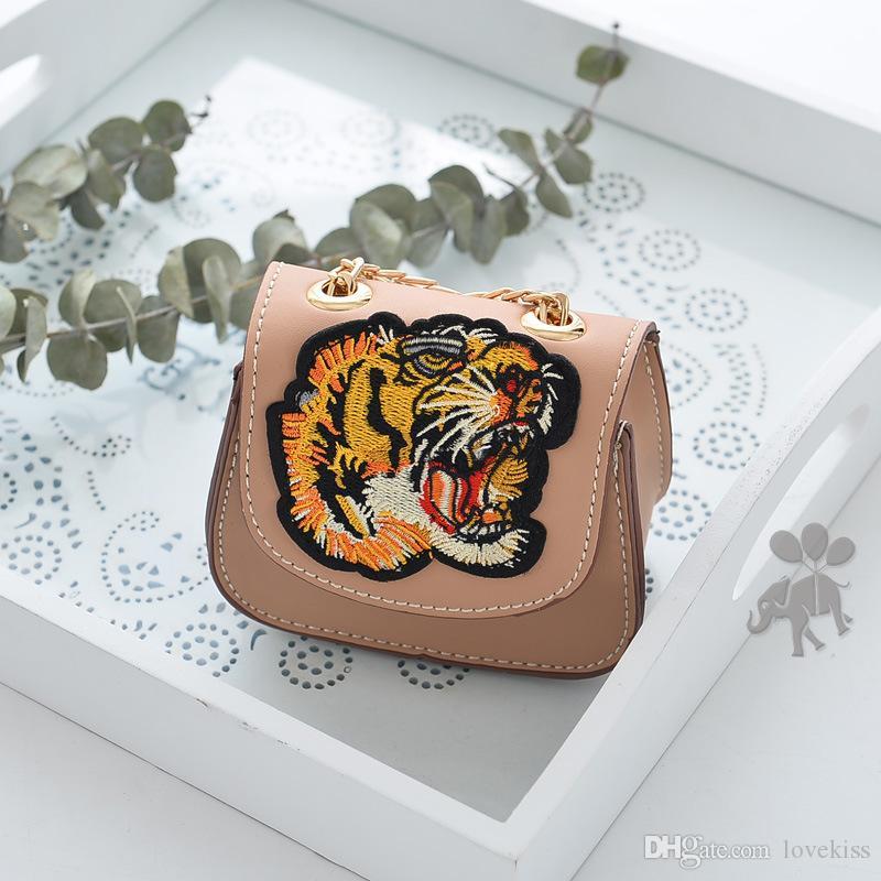 2018 neue Mode Tiger Mädchen Taschen Prinzessin Kinder Ledertasche Kinder Handtaschen Umhängetasche Schultertaschen Mädchen kleine Taschen Kinder Geldbörsen A1616