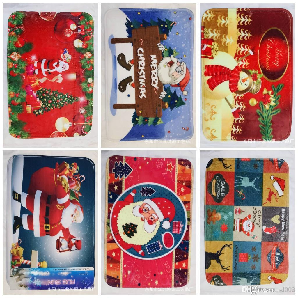 2019 40 60cm Christmas Floor Mats 3d Printing Soft Carpet Rugs For