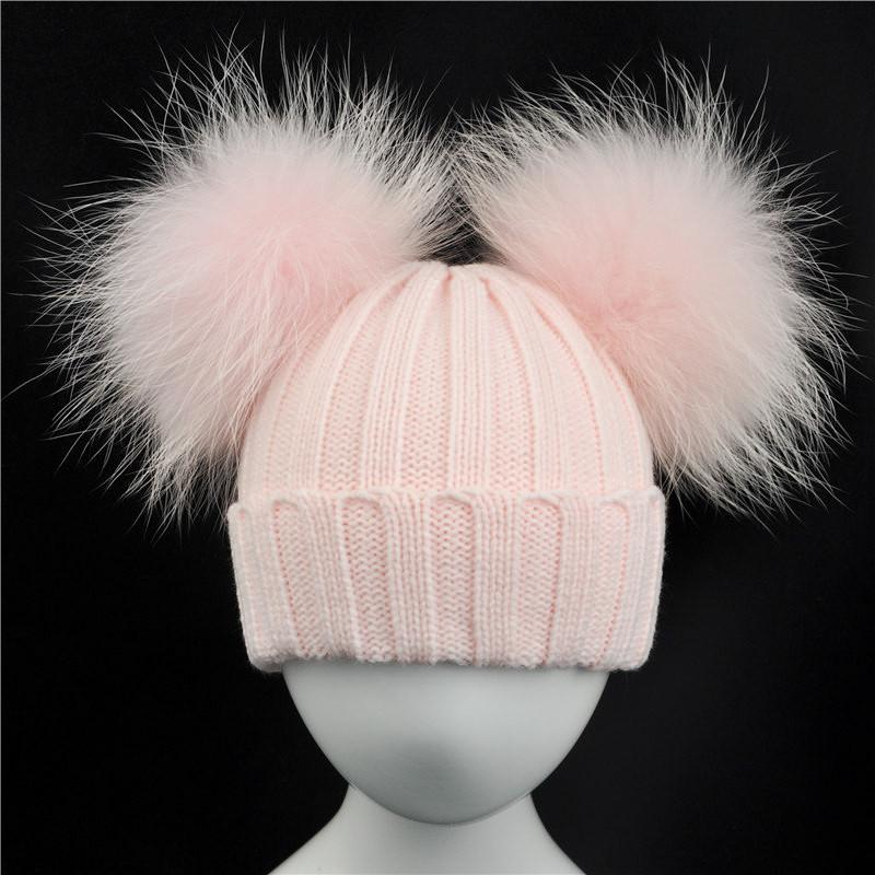 Winter Baby Knit Hat With Two Fur Pompoms Boy Girls Natural Fur Ball Beanie  Kids Caps Double Real Fur Pom Pom Hat For Children C18103101 Skull Caps  Stocking ... bcebe5759d8