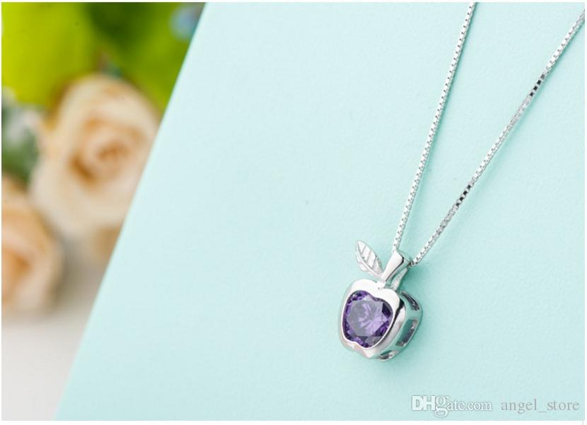 Female 925 sterling silver necklace noble apple zircon pendant solid silver clavicle chain girls popular jewelry