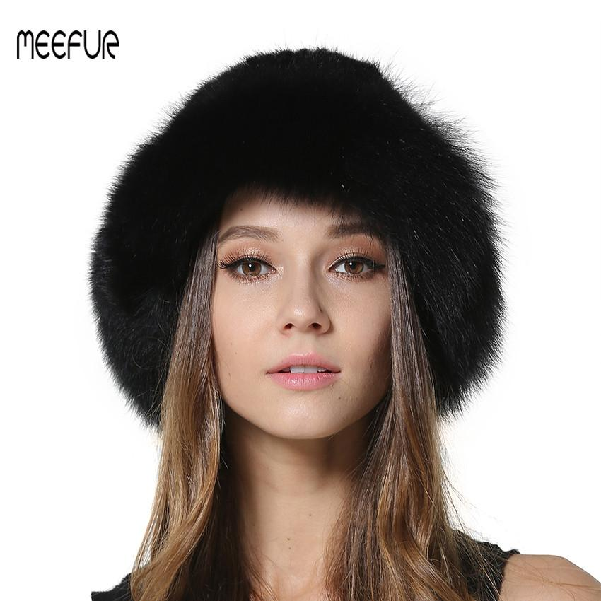 3f9109b7d5d 2018 New Womens Real Fur Winter Hats Natural Knitted With Fox Fur Trimming  Caps Fashion Solid Bucket Hats LX00831 Flat Brim Hats Mens Straw Hats From  ...
