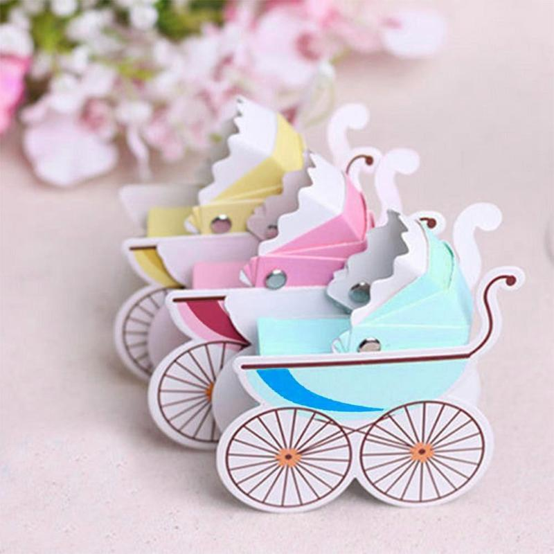 Cute Baby Shower Newborn Baby Candy Box Lovely Mini Stroller Candy