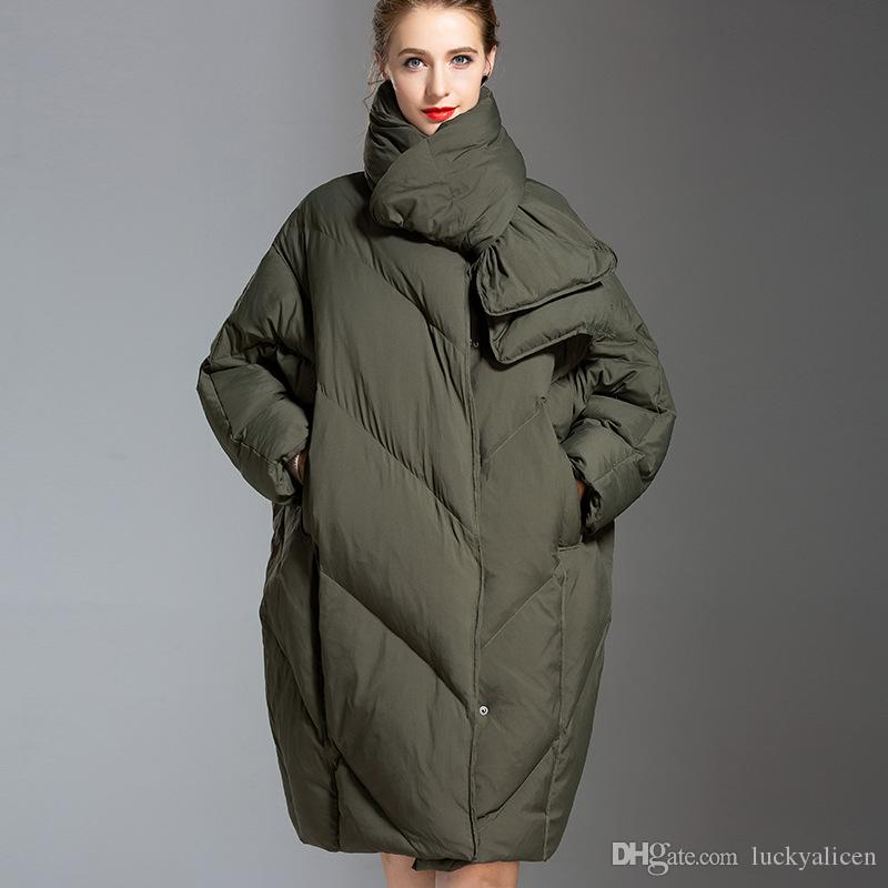 ce19d143de3 2019 White Duck Down Coat Women Winter Clothing 2018 Female Jacket High  Quality Knee Length Vintage Down Jacket For Women Parka Overcoat O03 From  ...
