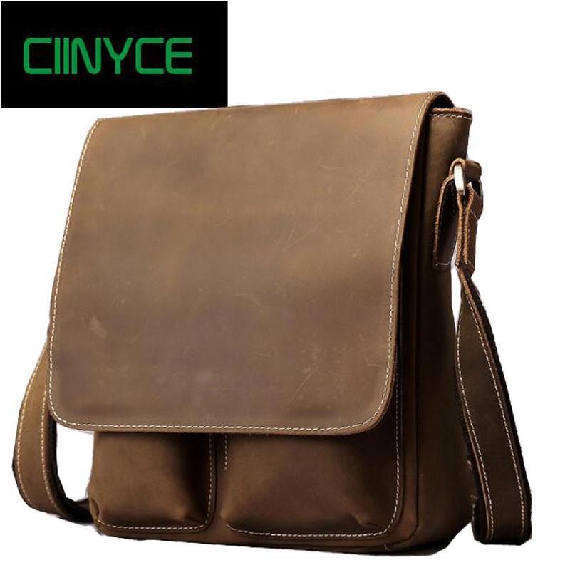 Crazy Horse Leather Male Crossbody Laptop Computer Designer Handbags ... d296decbe7d95