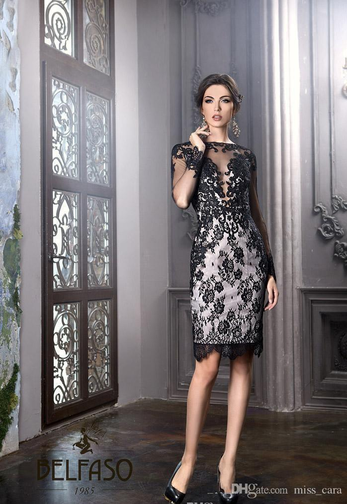Elegant Sheath Knee Length Mother Of The Bride Dresses Sheer Neck Lace Sexy Cocktail Gowns 2018 Wedding Guest Dress