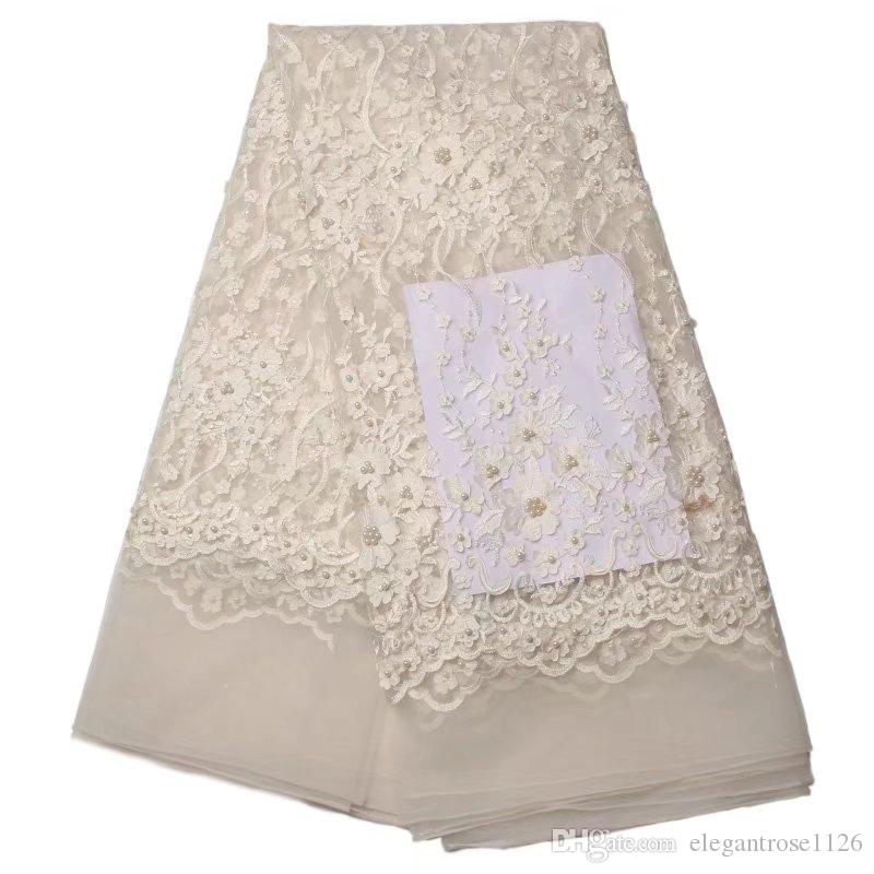 African Tulle Lace Fabric French net Lace With beadings Nigerian Embroidery Tulle guipure Lace GYNL0067