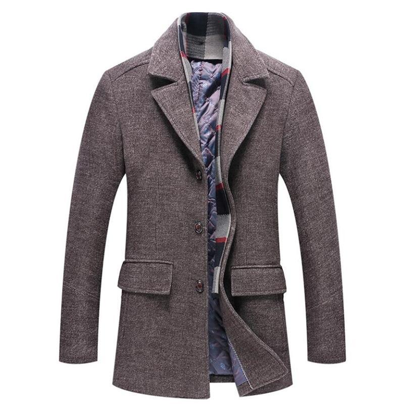 9ec9961a0a1e 2019 Winter Warm Woolen Coat Men Thick Windbreaker Detachable Scarf  Overcoat Male Casual Long Jacket Business Trench Wool Coats 4XL From  Blairi, ...
