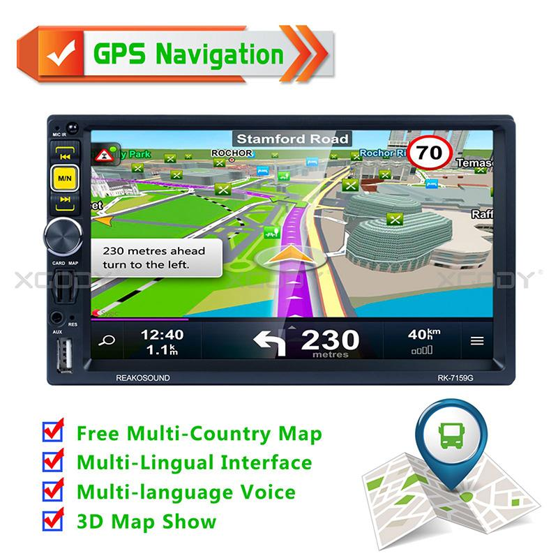 7'' Navigator Car Gps navigation Car Radio 2 Din Bluetooth Hand Free MP5 Player HD Touch Screen AUX Fm Free Map