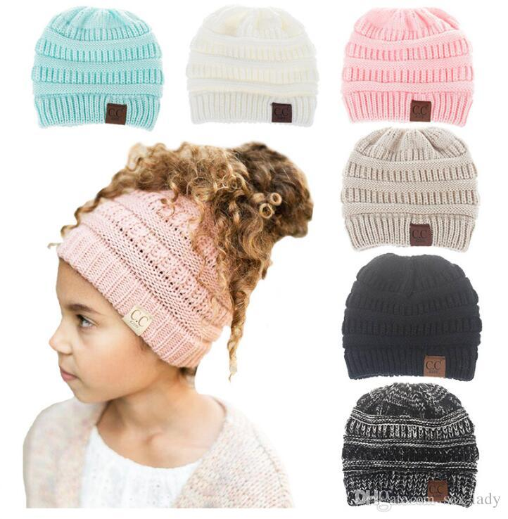 4914b4a3c05 Girls Baby CC Wool Ponytail Beanie Hats Crochet Winter Knitted ...