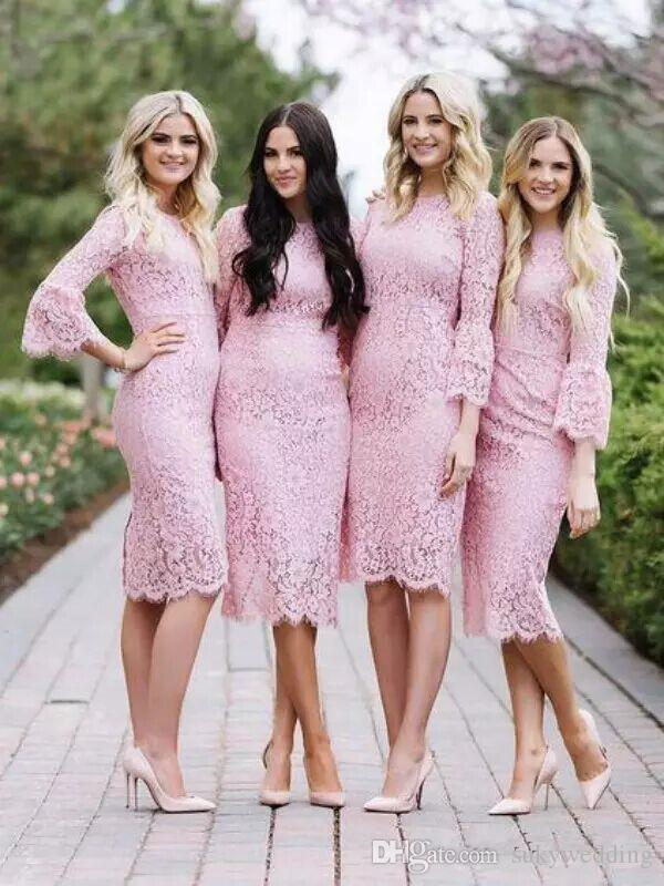 2018 New Sheath Lace Bridesmaids Dresses Pink Jewel Neck Nigerian Lace  Styles Wedding Guest Party Gowns Knee Length With Bell Sleeves Lavender  Bridesmaid ... a8b3549eb6da