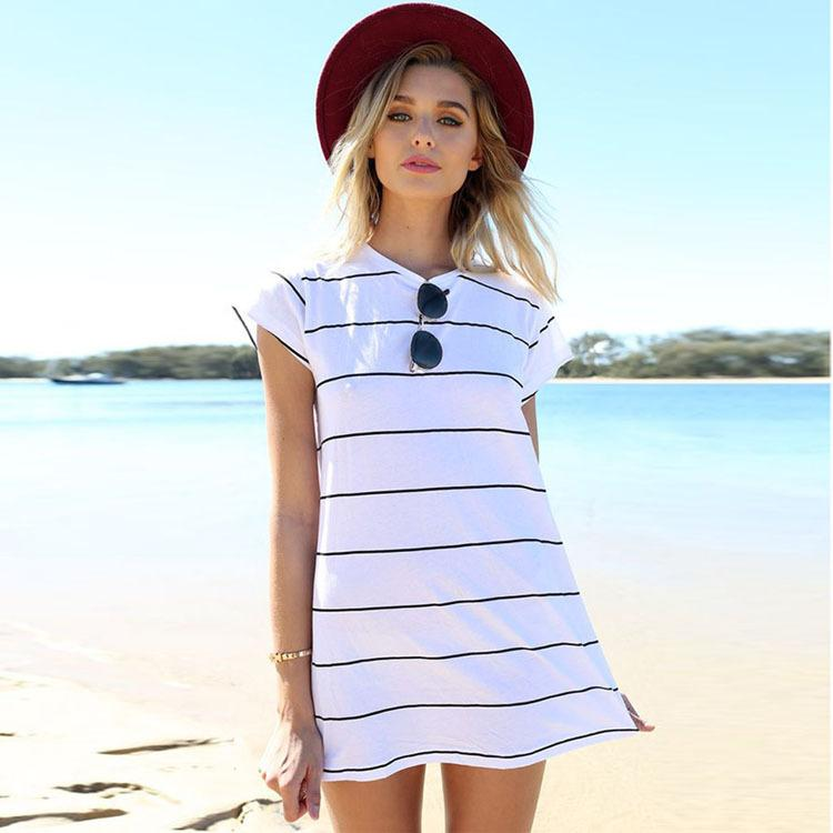 b387b56e4fb Summer Womens Dress 2018 Fashion Beach Casual Dress Black White Striped Dress  O Neck Short Sleeve Lady Mini Dresses Lace Dresses Green Dress From ...