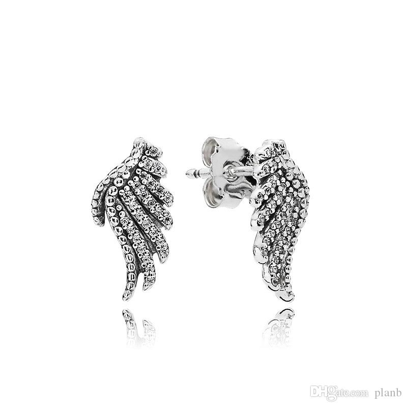 Authentic 925 Sterling Silver Magnificent feather Earring with Crystal Fit Pandora Jewelry Women Stud Earring with Original box