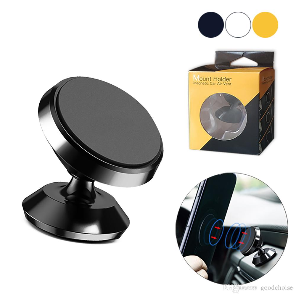 018bf2e563b0 4 Magnetic Metal Air Vent Magnetic car Holder mount stand dashboard for  iphone all smartphones With package