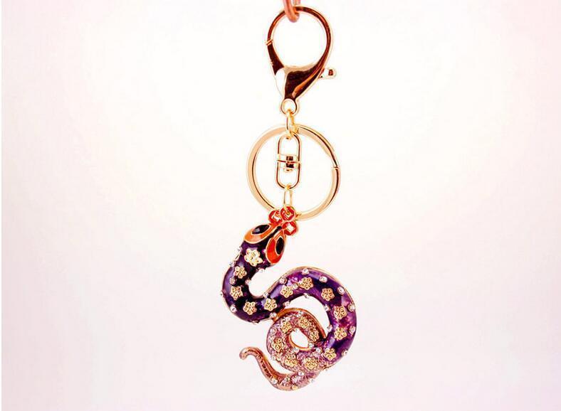 Snake Crystal Keychain Keyring Womens Bag Charm Handbag Pendant Car Key  Chians Holder Creative Lucky Gift Key Ring Keyring From Wfactory 65e29753ef
