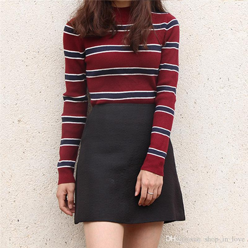 872238ec453 Women s Autumn And Winter Long Sleeved Striped Sets Soft Bottoming ...