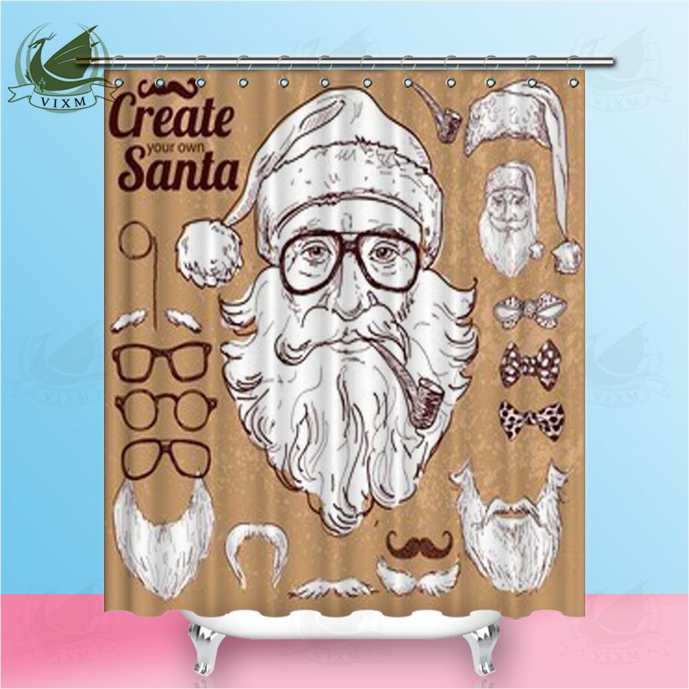 2019 Vixm Home Hand Drawn Vintage Hipster Santa Claus Fabric Shower Curtain French Bulldog Bath For Bathroom With Hook Rings 72 X From Bestory