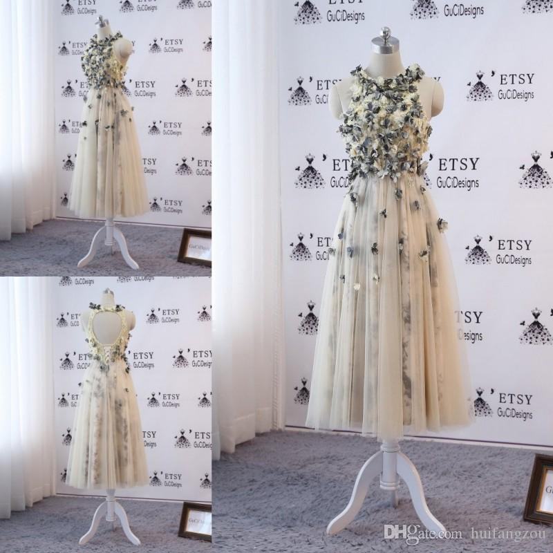 fba9400925c Light Yellow Short Prom Dress 2019 Jewel Neck Printed Lace 3D Applique  Beads Evening Downs Hollow Back Formal Dresses Formal Dress Shops Formal  Dress Stores ...