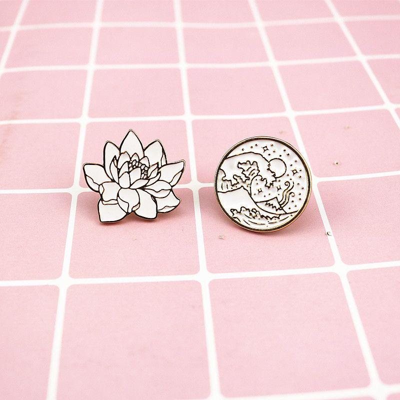 7c6cba808 2019 Waves Round Brooches Plant Flowers Enamel Pin For Boys Girls Lapel Pin  Hat/Bag Pins Denim Jacket Shirt Women Brooch Badge Q270 From Mykjpp, ...