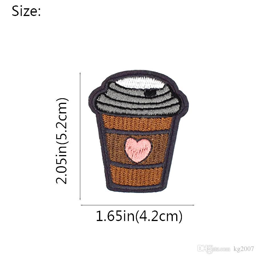 DIY в форме сердца чашка кофе патчи ткани одежда ребенок одежда утюг на передачу аппликация патч для шить вышивка патч аксессуары
