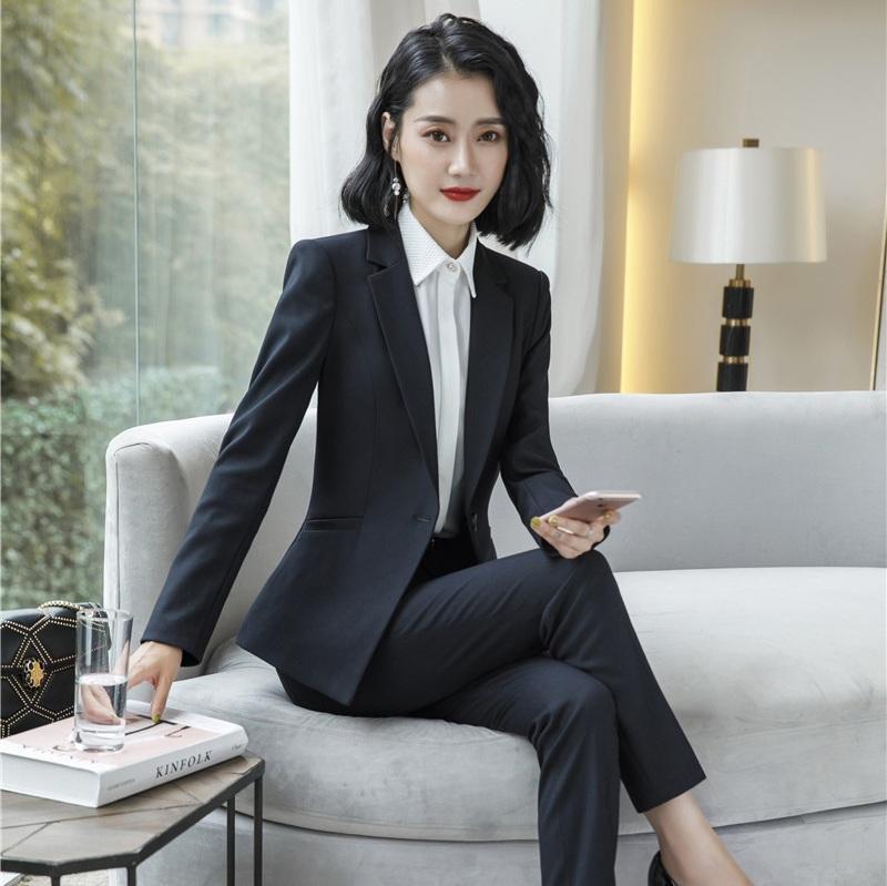 Compre Señoras Formales De Alta Calidad Trajes De Pantalón Para Mujer Trajes  De Negocios Blazer Negro Y Conjuntos De Chaqueta De Ropa De Trabajo  Uniformes ... 1b4d969f4f74