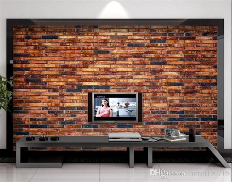 PVC Wallpaper Mural Vintage Stone Brick Wall Art Wall Paper for Bedroom Red Stone Wall Paper Mural Wallpaper Chinese Style