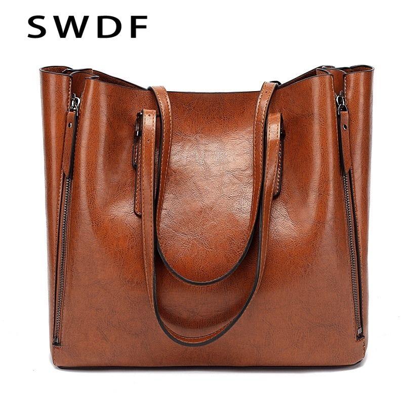 29afe0c63bc SWDF New Fashion Luxury Handbag Women Large Tote Bag Female Bucket Shoulder  Bags Lady Leather Messenger Bag Shopping Tote