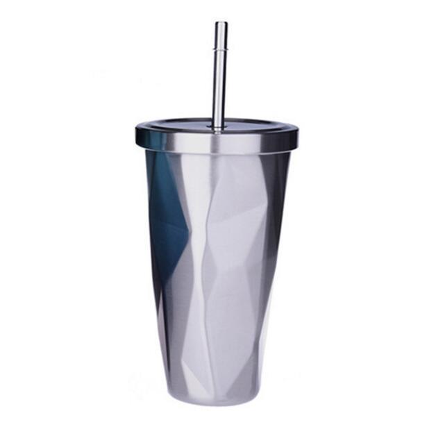 17 oz Gradiente de diamante Paja Taza de café Doble pared Acero inoxidable Aislamiento al vacío 500 ml Botella de agua termo de viaje tazas