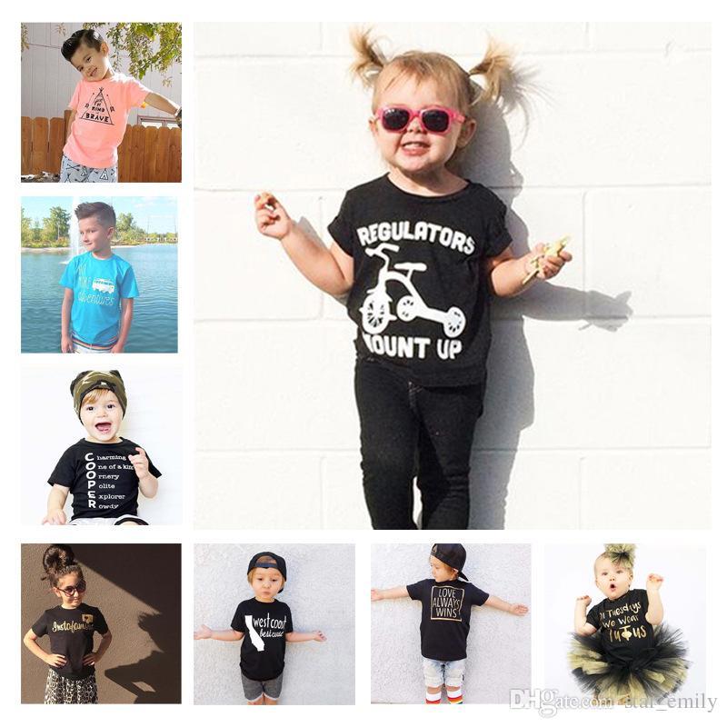b72ef4ed14ae1 22 Style Baby INS Cartoon Unicorn Letter Tee Top Shirts Boys Girls ...