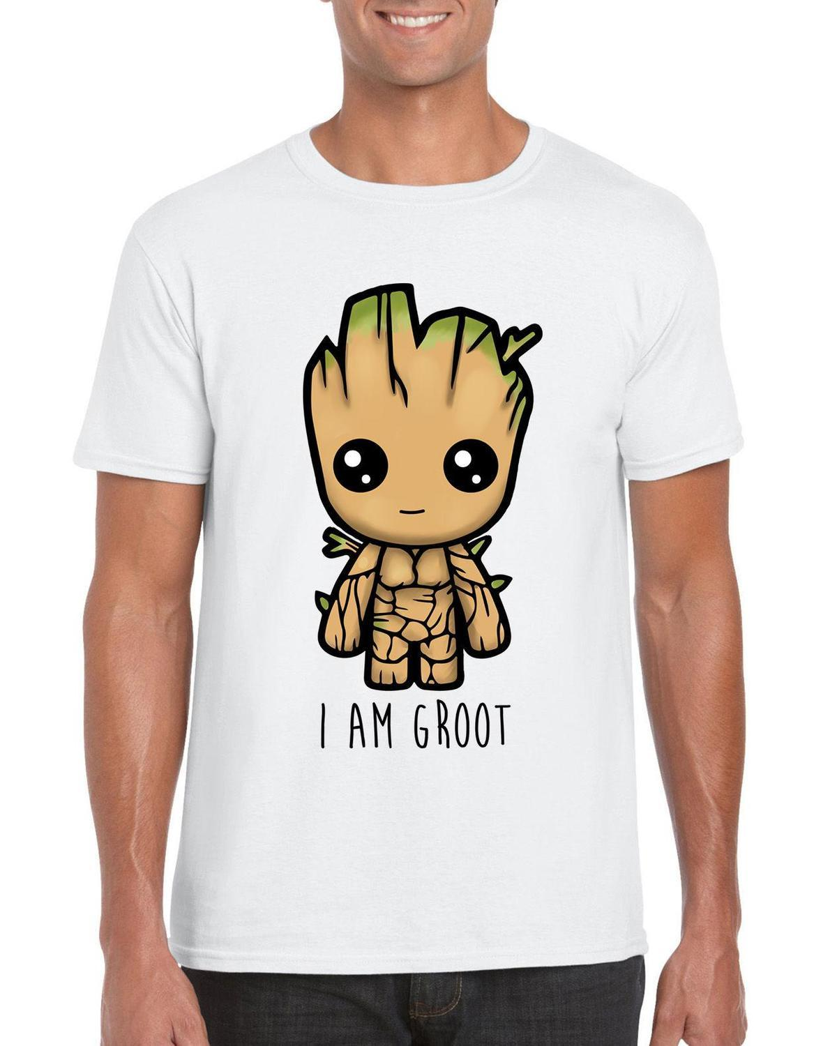 """I Am Groot"" Cute Baby Groot Guardians of The Galaxy 2 Inspired T-shirt - White"