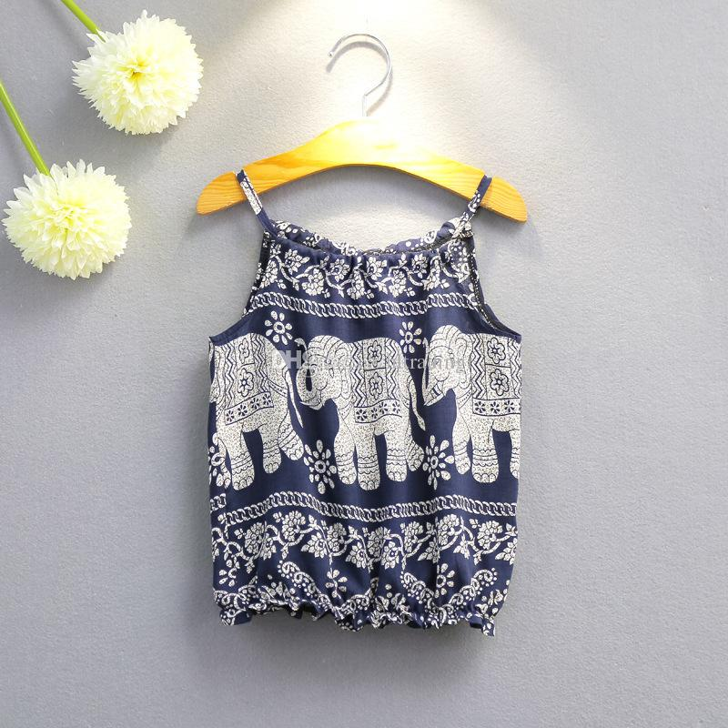 Children Elephant print outfits girls Sling top+pants 2018 summer Baby suit Boutique kids Clothing Sets C3892