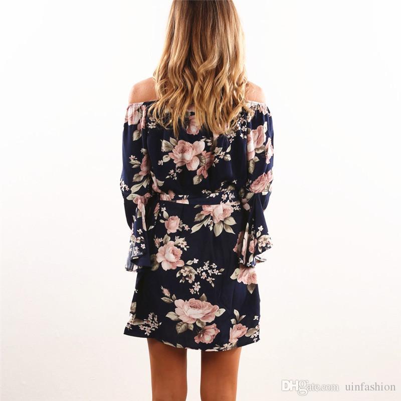 Women Dress 2018 Summer Sexy Off Shoulder Floral Print Chiffon Dress Boho Style Short Party Beach Dresses Vestidos de fiesta