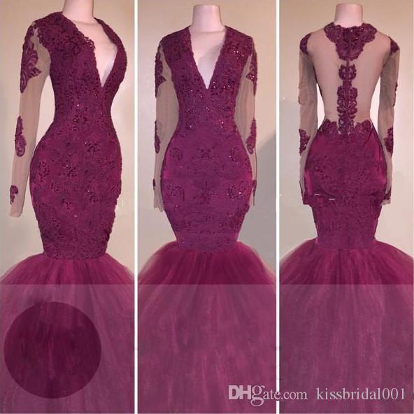 Sexig Rark Red Lace Prom Klänningar Långärmade Sleeves Mermaid 2K 17 Afrikansk formell kvällsklänning Illusion Svart Girls Pageant Dress