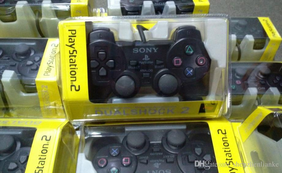 Wired Double vibration Shock Controller Gamepad Compatible for Playstation 2 PS2 Console Video Games Black Retail Packaging