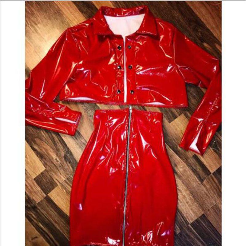 2019 Red PU Leather Women Sets Outfits Crop Tops High Waist Pencil Skirts  Zipper 2017 Autumn Long Sleeve Sexy Women S Sets From Zanzibar a58bcd047