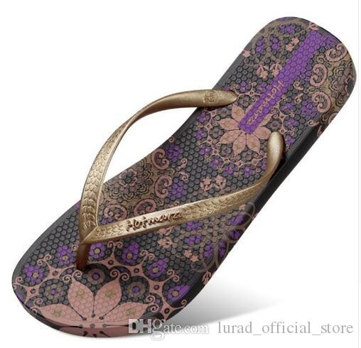 6cede1b520a0 New Women Summer Bohemia Beach Sandals Flat Flip Flops Ladies Fashion  Slippers Indoor Shoes Silver Floral Slides Green Shoes Ankle Boots For Women  From ...