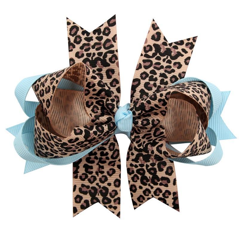 24 stücke 5 zoll mädchen dot leopard druck geschichte band bögen haarnadel baby mädchen handgemachte boutique haarclip schön huilin dw86