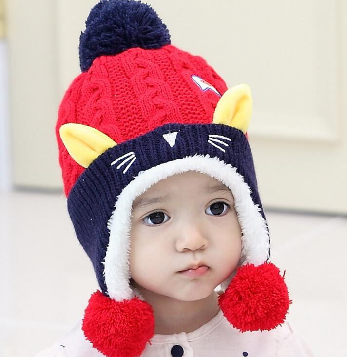 Winter Cute Baby Kids Hat Wool Ear Beanies Skull Baby's Warm Beanies Knitted Winter Wool Cartoon Cat Ear Beanies for Boys And Girls