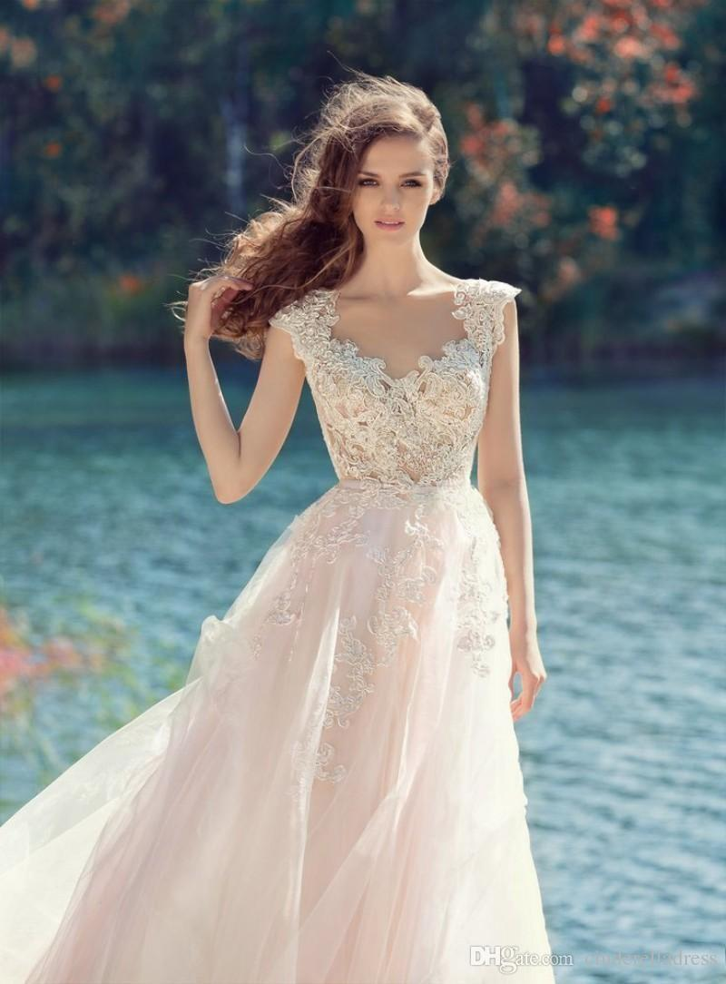 Papilio 2018 Beach Blush Pink Wedding Dresses Tulle Long Lace Appliqued Backless Sheer Scoop Neckline Chapel Train Bridal Gowns