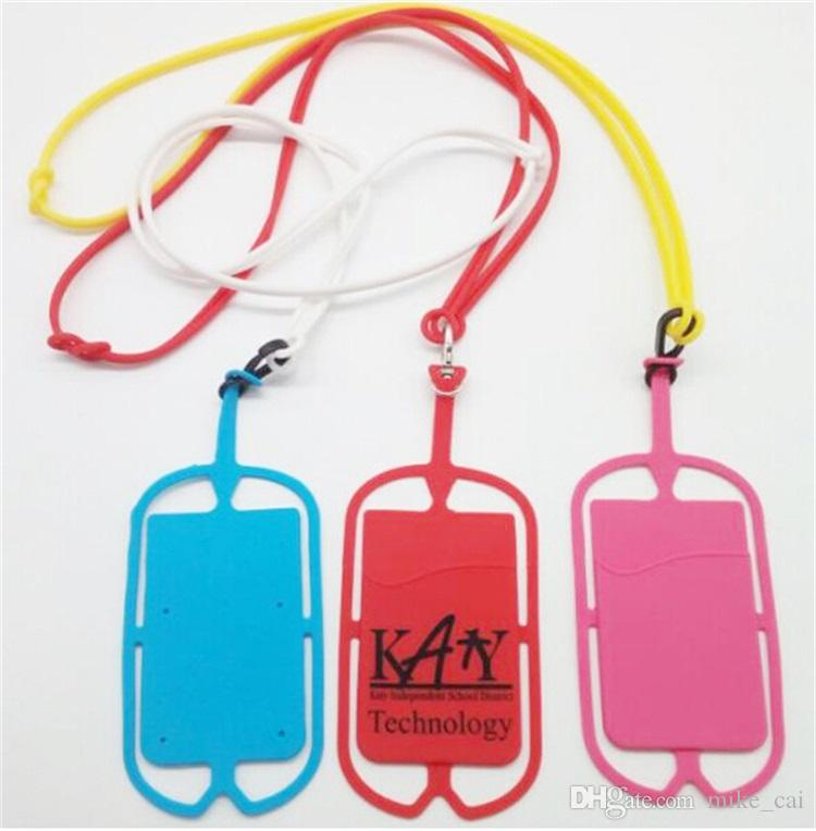 2018 Nice custom logo Universal Silicone Sling Lanyard Necklace Wrist Strap Phone Case silicone id card holder with lanyard