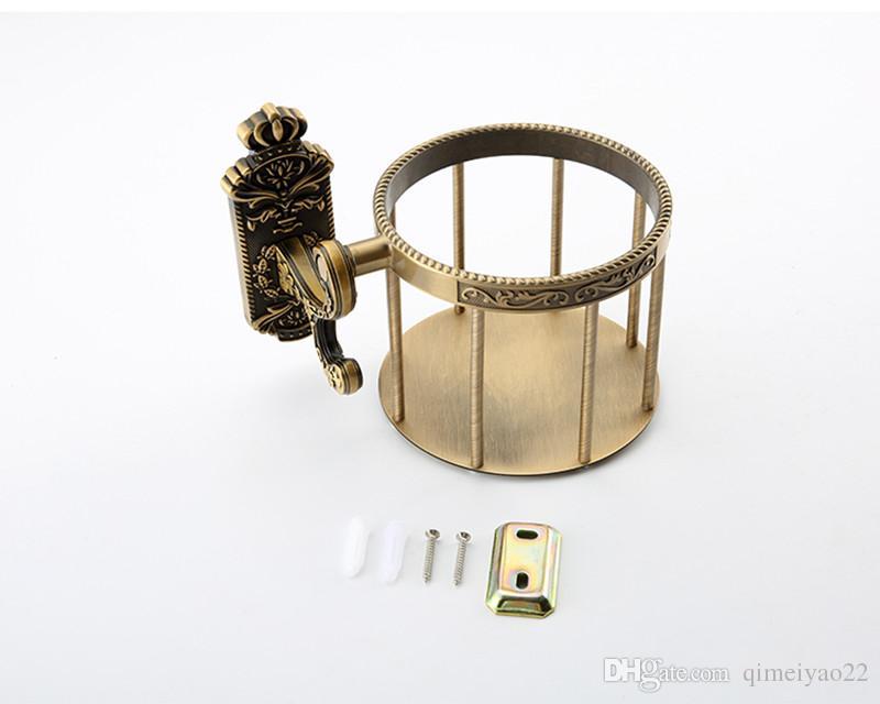 Paper Holders Antique Solid Brass Toilet Basket Shampoo Storage Wall Mount Bathroom Accessories Tissue Holder Paper Shelf Round Basket