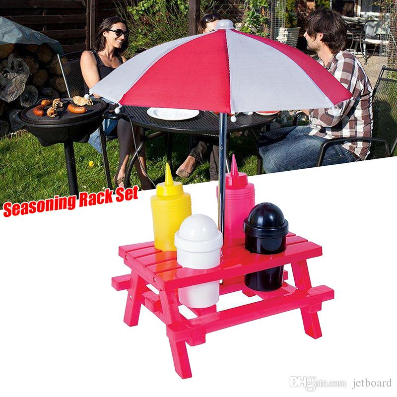 Picnic Table Condiment Holder Camping Picnic Folding Table Parasol - Picnic table parasol