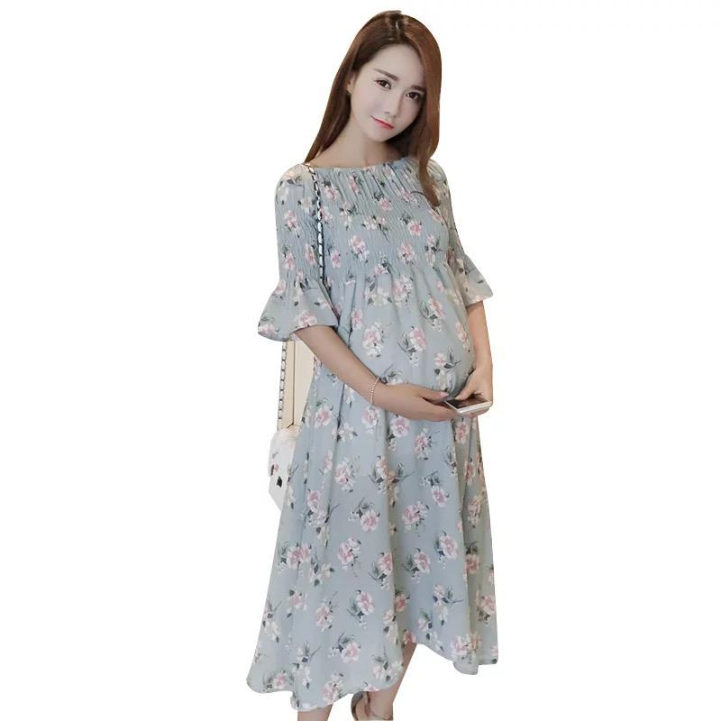 43d469e0e86 2019 AfeiTony New 2018 Maternity Clothes Dress Spring And Summer Dress  Loose Pregnant Women Chiffon Pregnancy Clothes From Sugarher