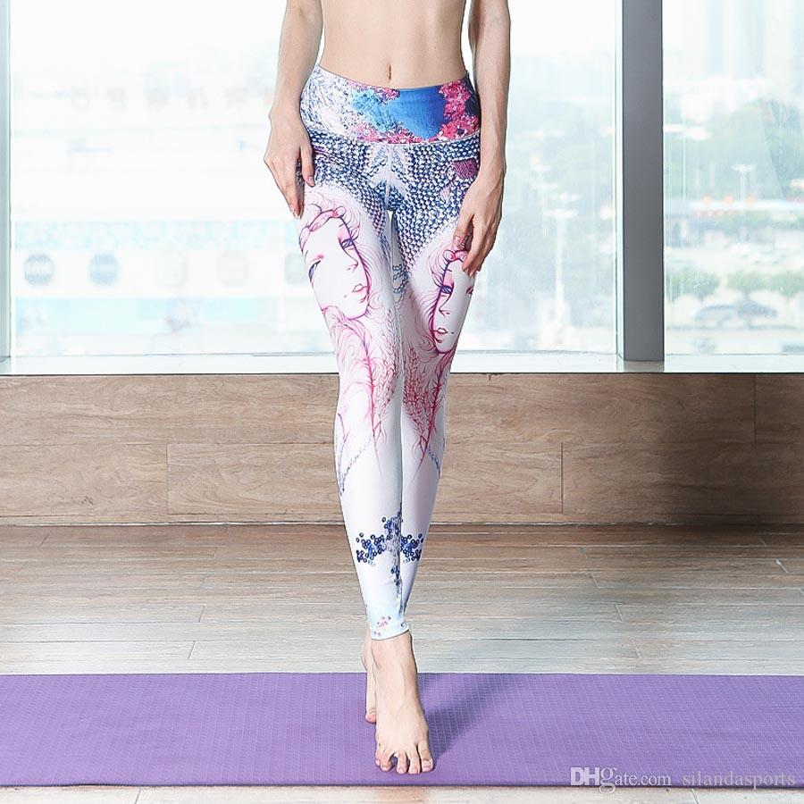3c424da935 2019 Silanda Sports Women Printed Yoga Leggings Sexy Yoga Pants Fashion Workout  Elastic Gym Running Fitness Pants Female Jogging Sport Tights From ...