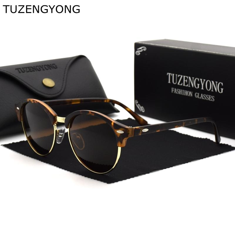 51d41a0b298 TUZENGYONG Classic Men Half Frame Polarized Sunglasses Fashion Round Women  Brand Designer Vintage Sun Glasses Male Driving UV400 Discount Sunglasses  Sports ...