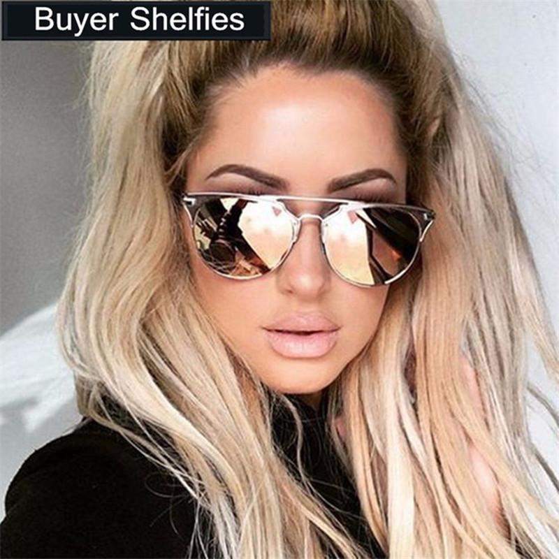 Compre 2019 Luxo Rodada Óculos De Sol Das Mulheres Designer De Marca Retro  Do Vintage Piloto Cat Eye Sunglass Espelho Óculos De Sol Feminino Lady  Óculos De ... 1846070e83