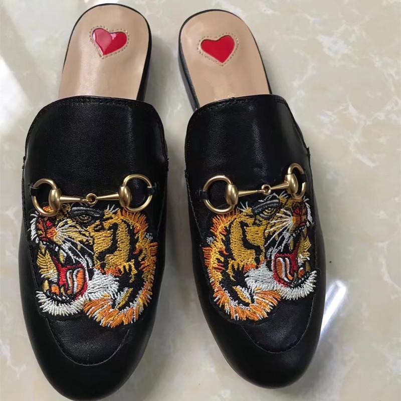 Mocassins Designer Cuir 2018 Mules Princetown S841 Chaussures De Mode Européen Femmes Véritable Imprimer En Fleur Pantoufles T3KJuF1lc