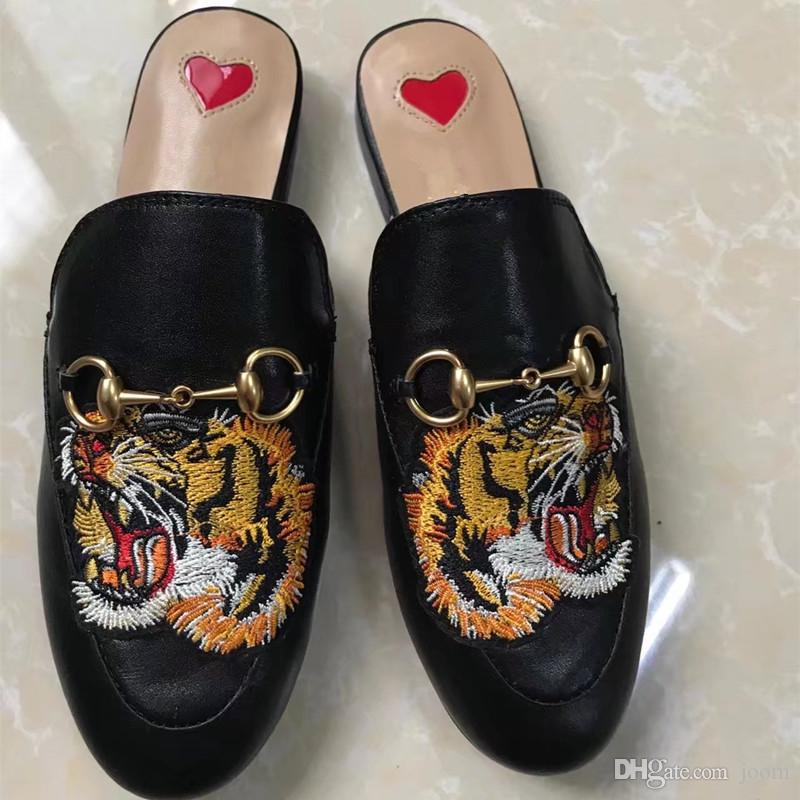 618e58ce3 2018 Flower Print Women Princetown Leather Moccasins Genuine Leather  Slippers European Designer Shoes Fashion Mules Shoes S841 Boots For Women  Black Boots ...